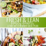 A collage of summer meal plan meals including chimichurro tacos, caprese salad, cucumber salad, and veggie skewers