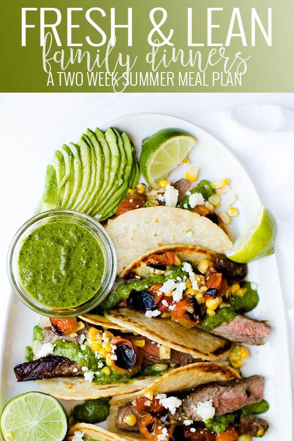 summer meal plan highlight - a photo of chimichurri tacos with sliced avocado on a platter