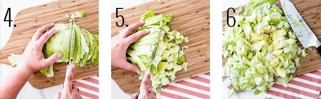 bbq chicken salad cpk - How to chop lettuce steps 3-6