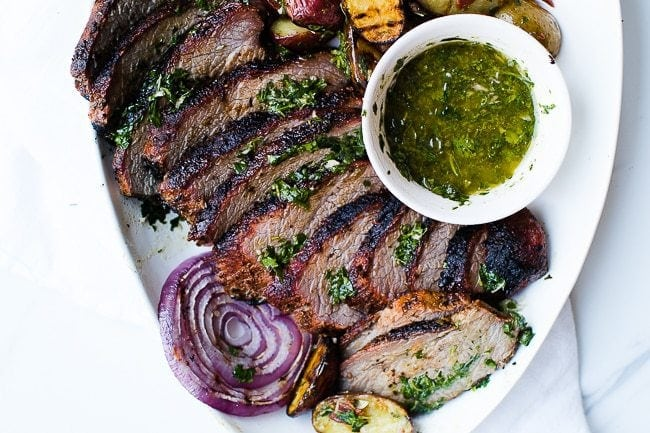 sliced smoked santa maria tri-tip with chimichurri dip