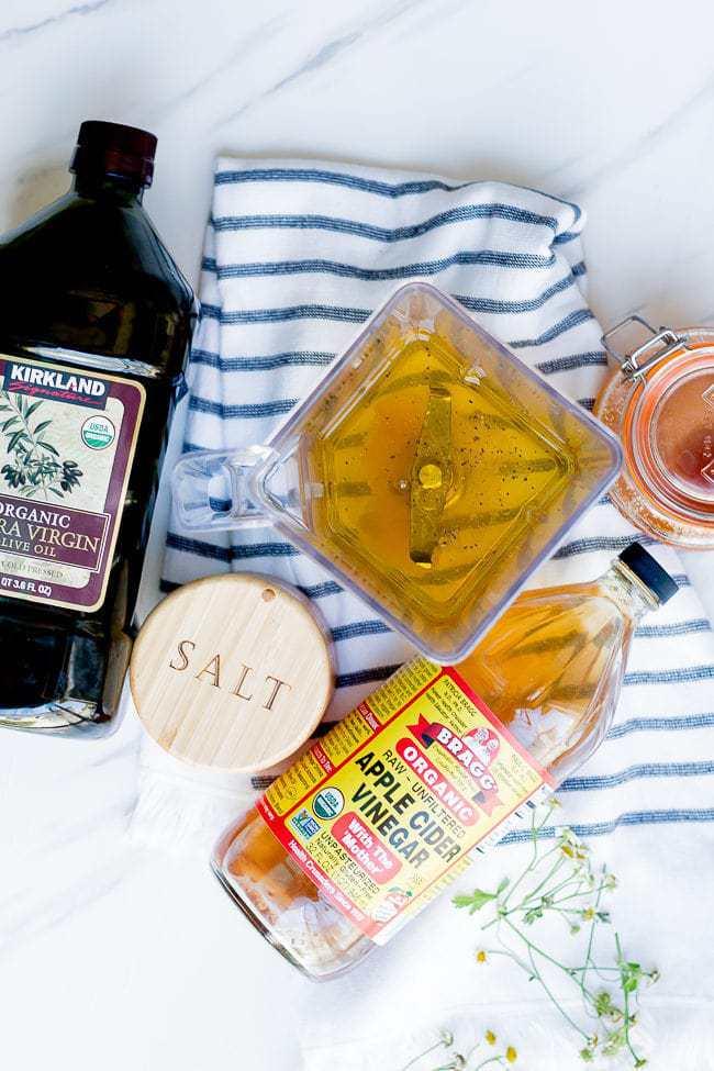 Baked apple salad dressing ingredients and a blender jar.