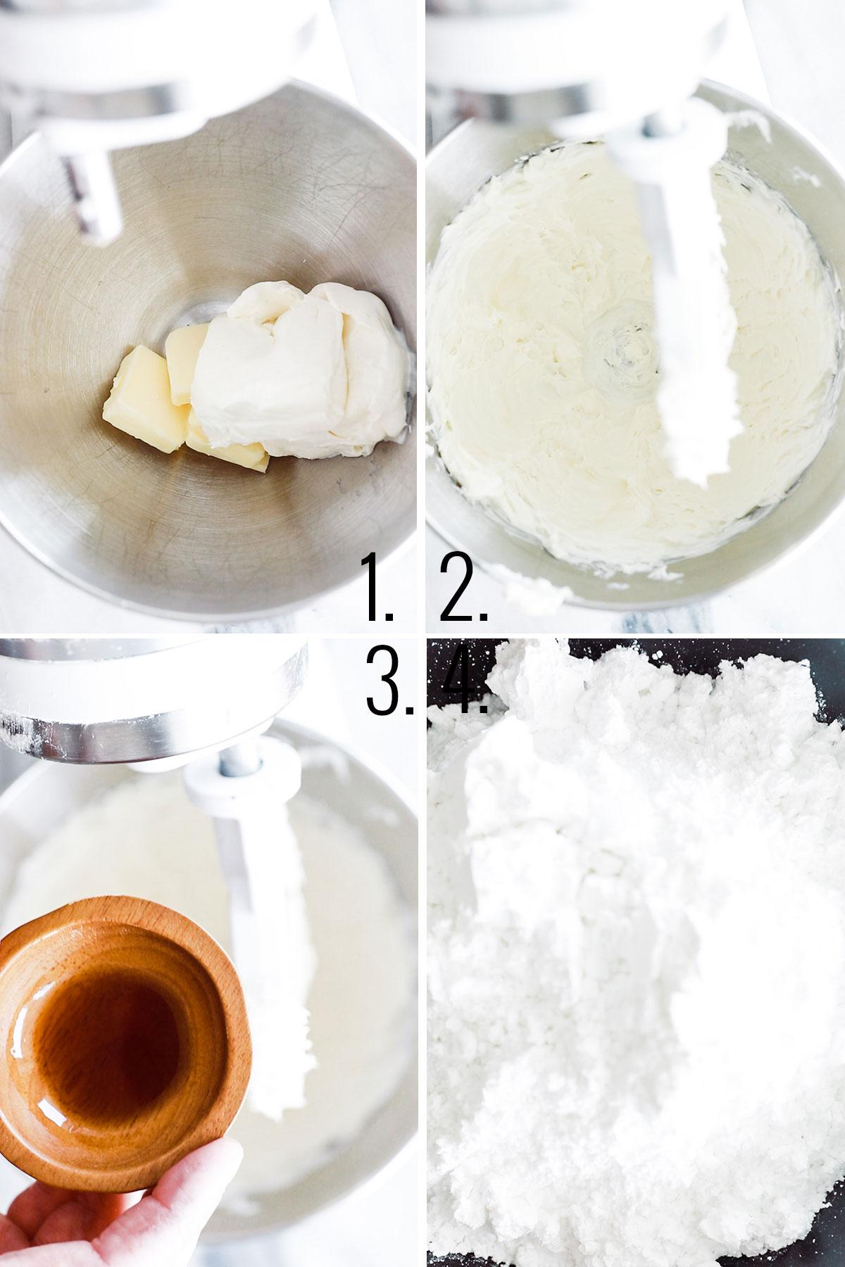 four process shots adding ingredients (butter, cream cheese, vanilla, milk and powder sugar) to mixer