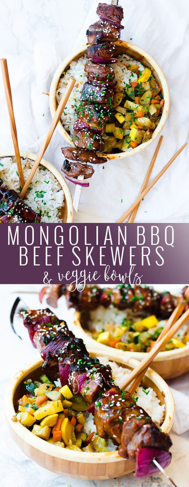 Mongolian BBQ Beef Skewers & Veggie Bowls | homemade asian inspired recipes | healthy asian recipes | easy skewer recipes | homemade beef skewers || Oh So Delicioso #ad #mongolianbeef #beefskewers #asianrecipes @pfchangshomemenu
