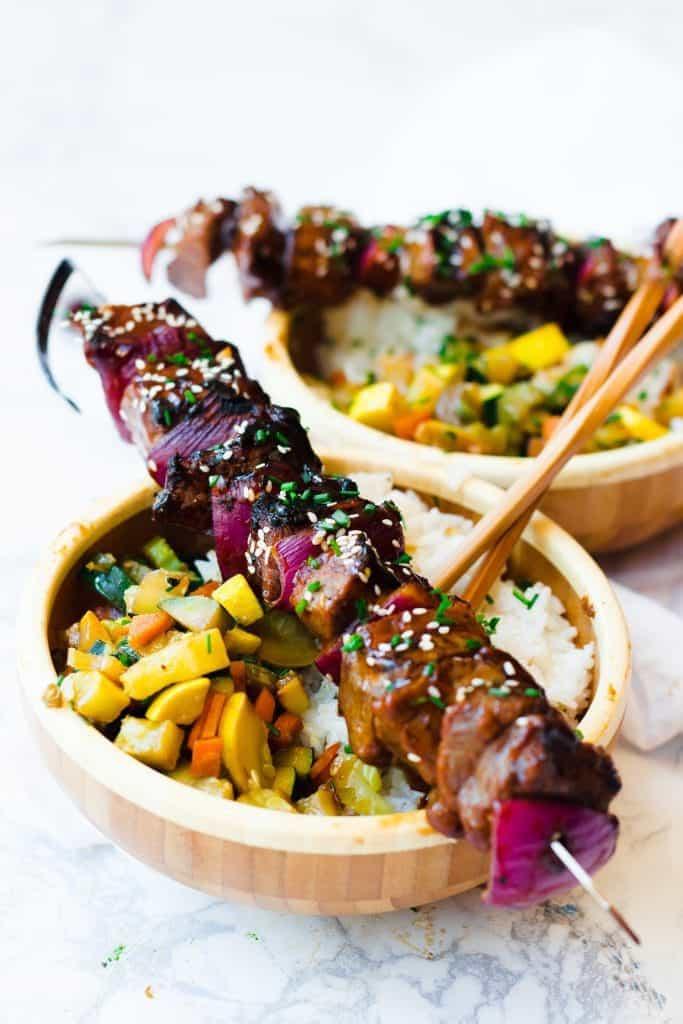 Mongolian BBQ Beef Skewers & Veggie Bowls