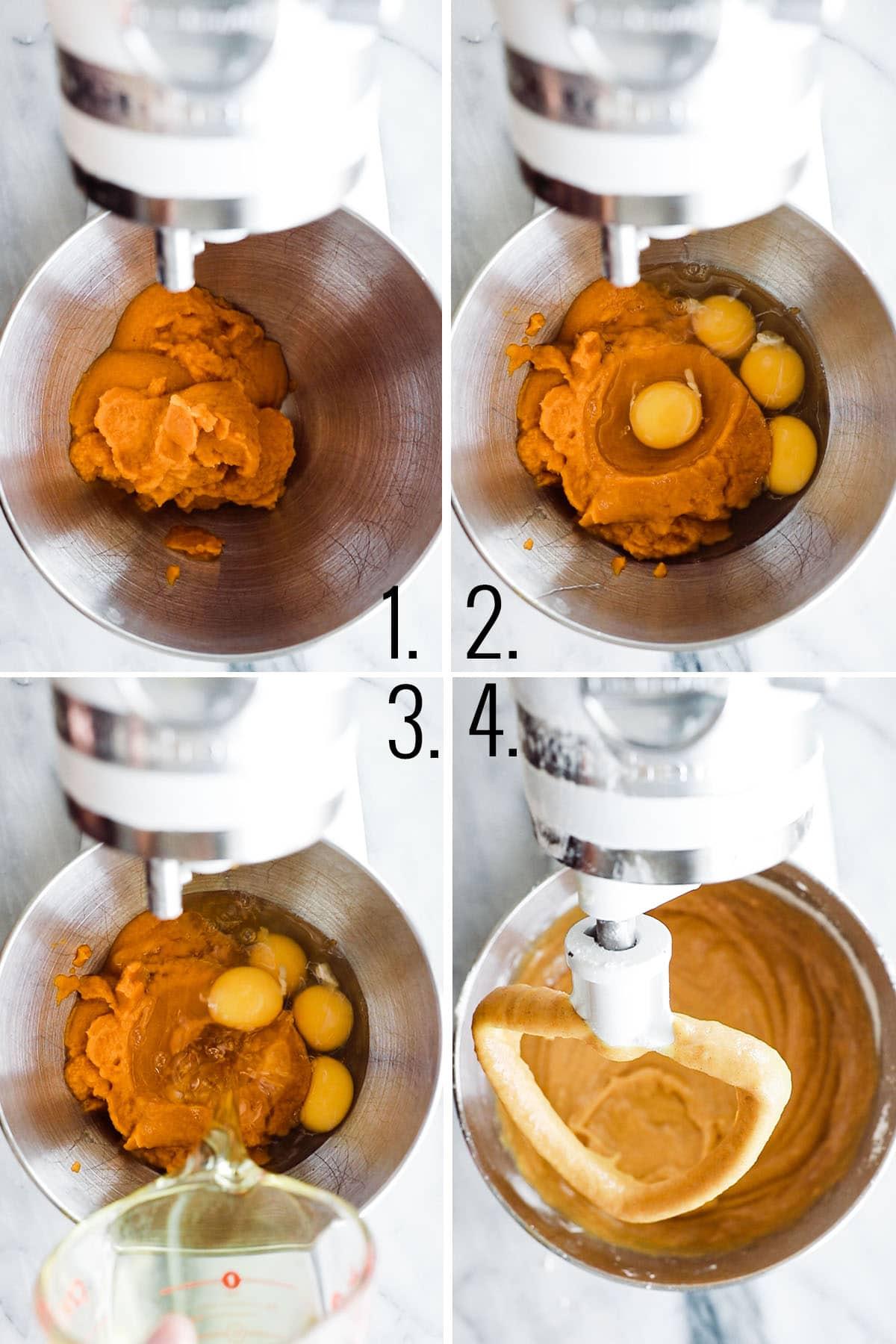 four process shots adding eggs, pumpkin, oil to kitchen aid mixing bowl