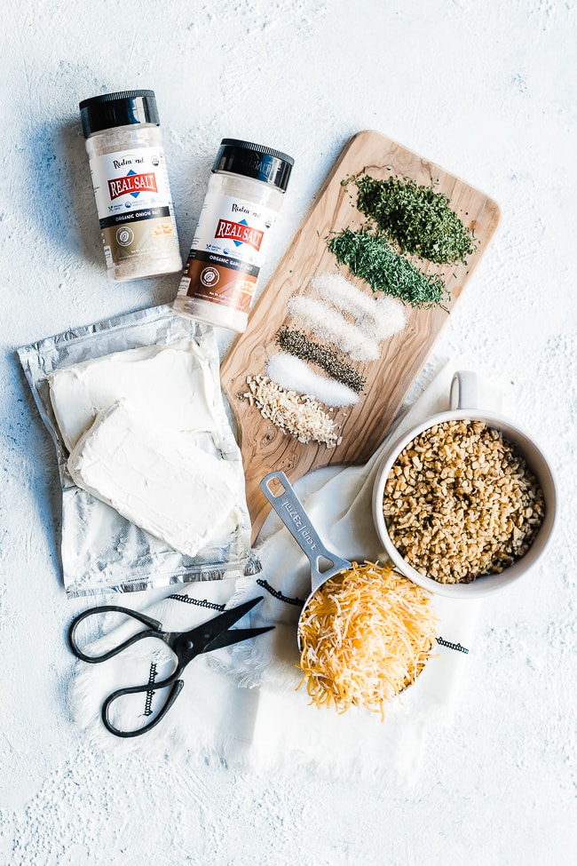Ranch cheeseball recipe ingredients.