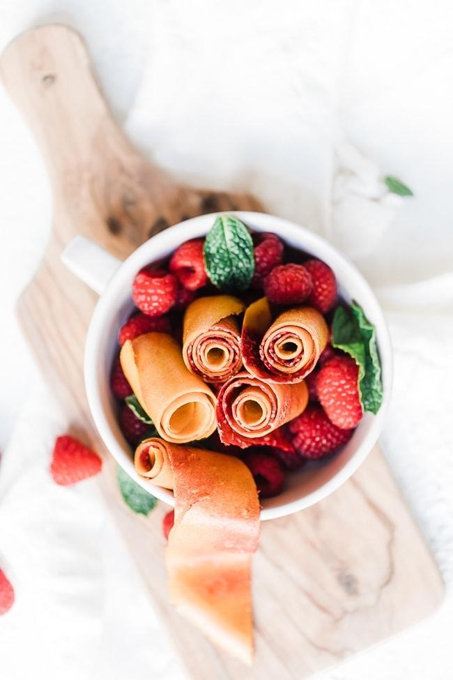 Peach Raspberry Fruit Leather Recipe Snacks Oh So