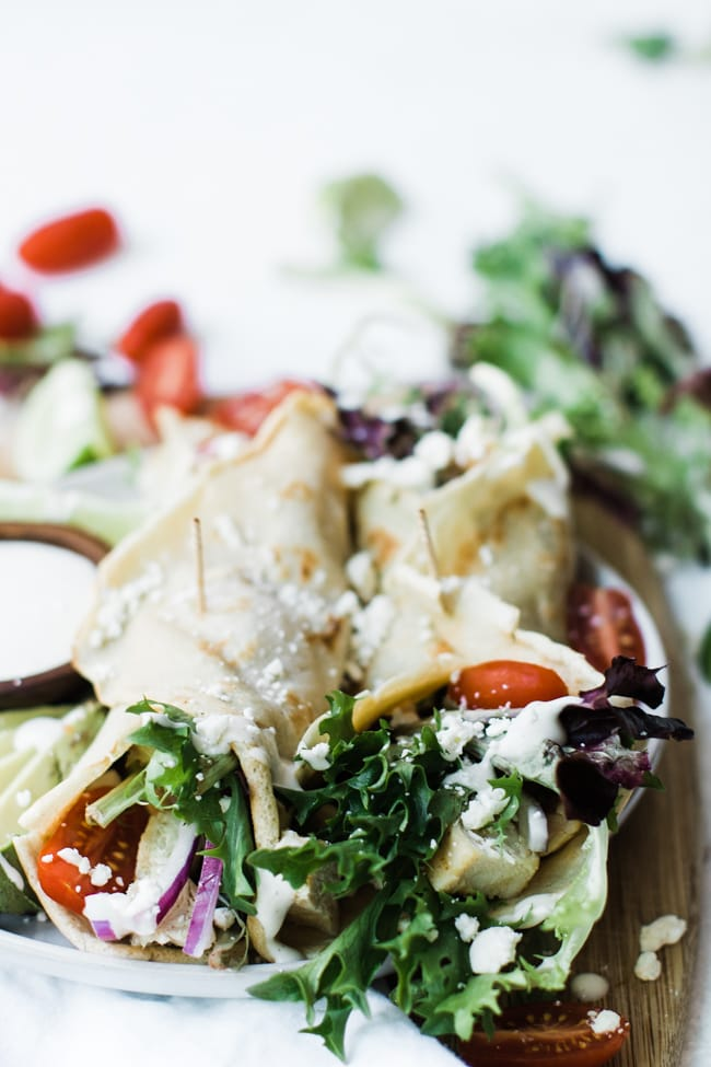 savory crepes filled with lettuce chicken and veggies