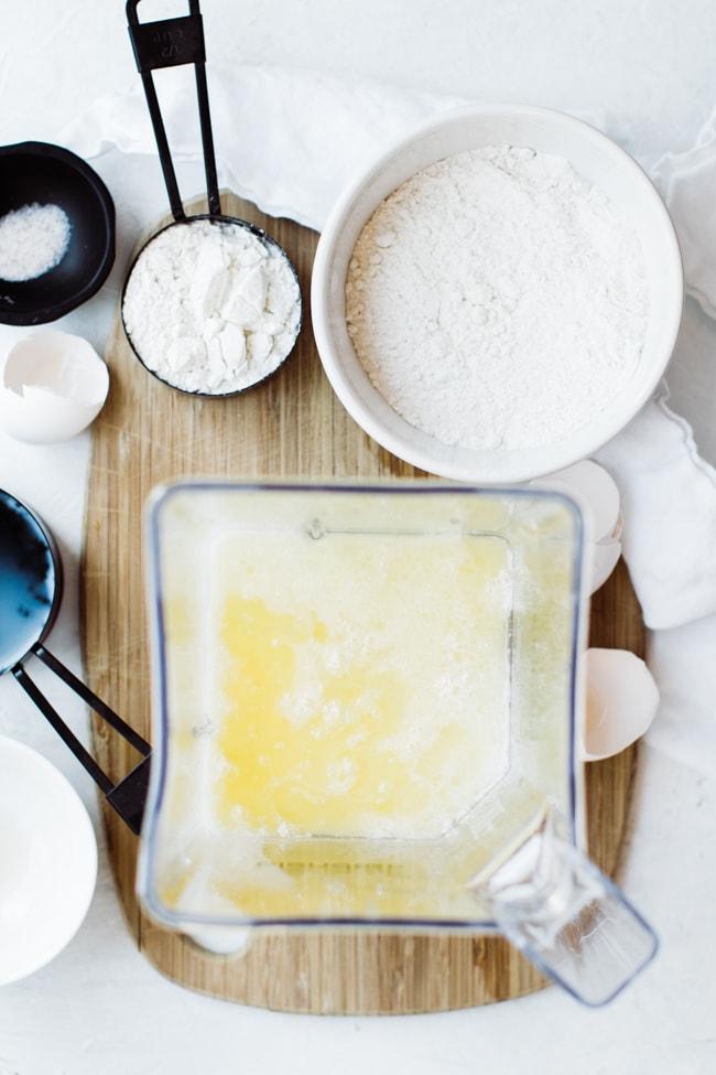eggs, milk, butter added to blender.