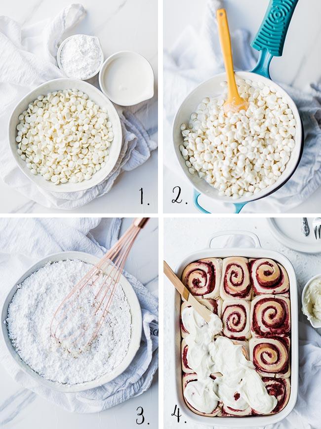 White chocolate icing process.
