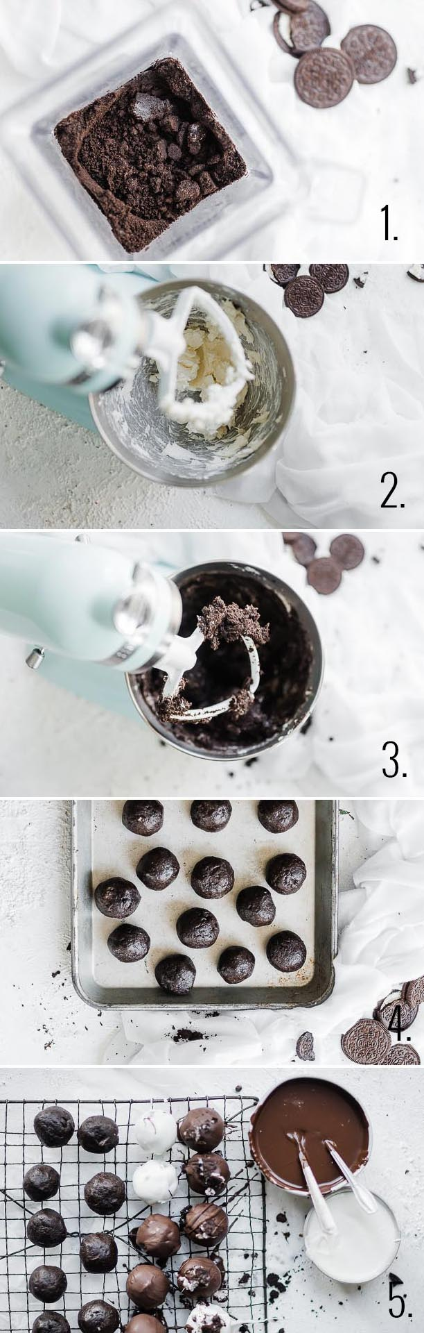 Chocolate Oreo truffle process.