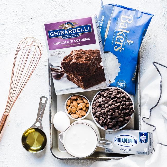 Almond Joy brownies ingredients.