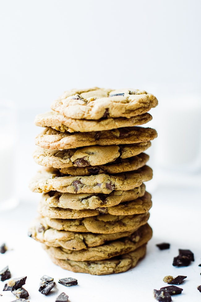 stack of cookies vertically with chocolate chunks surrounding