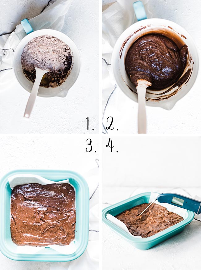 Almond joy brownies - process shots.