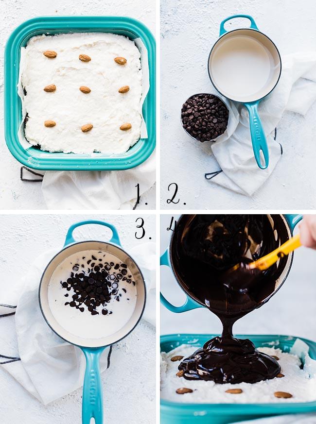 Almond joy brownies - process shots.