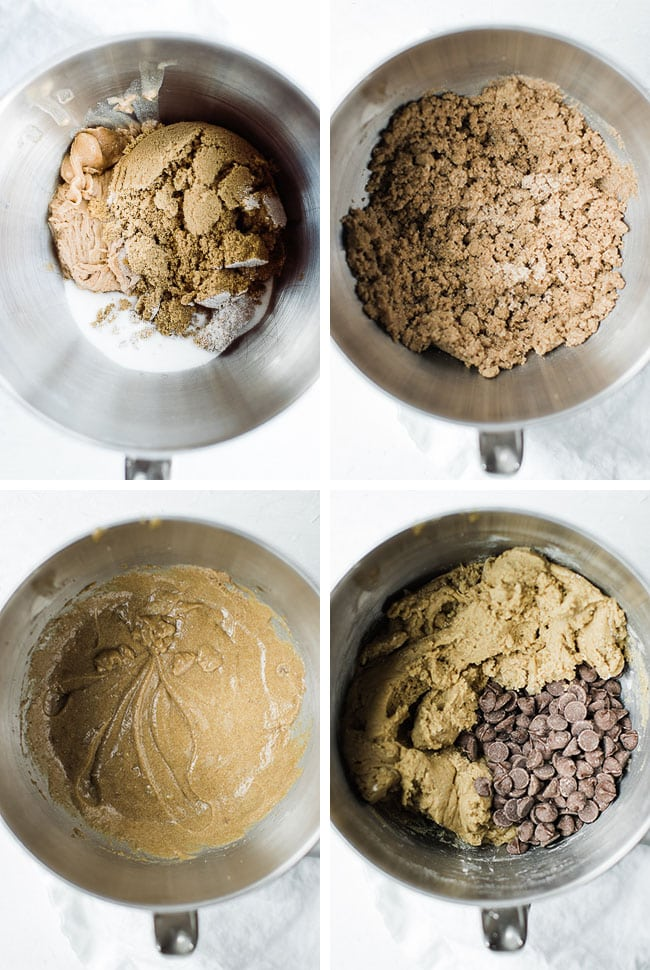 4 pictures of the 4 steps to make the cookie dough