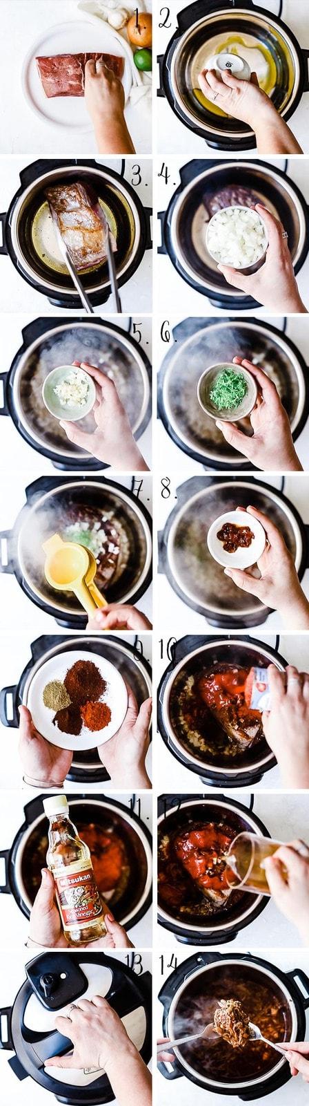 Beef barbacoa process.