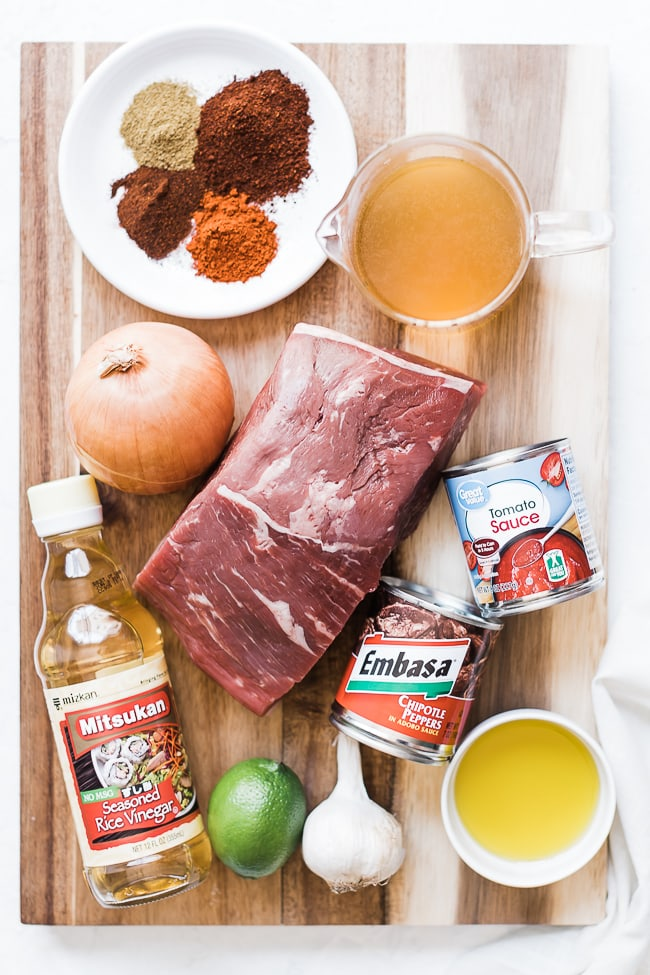 Beef barbacoa recipe ingredients.
