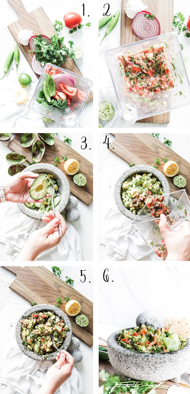 Healthy guacamole process.