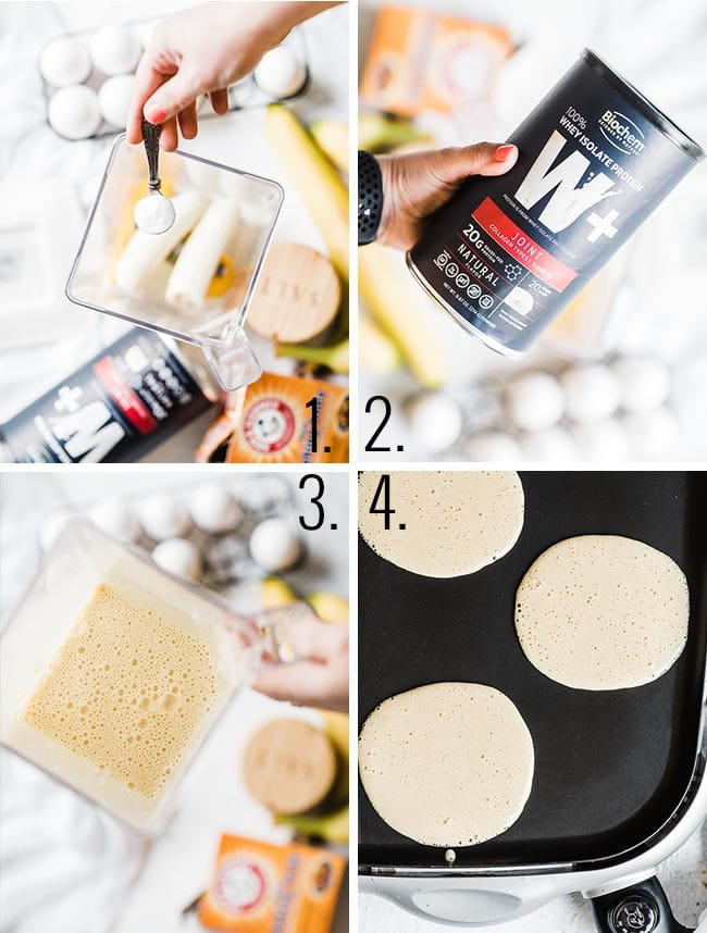 Healthy protein pancake process.