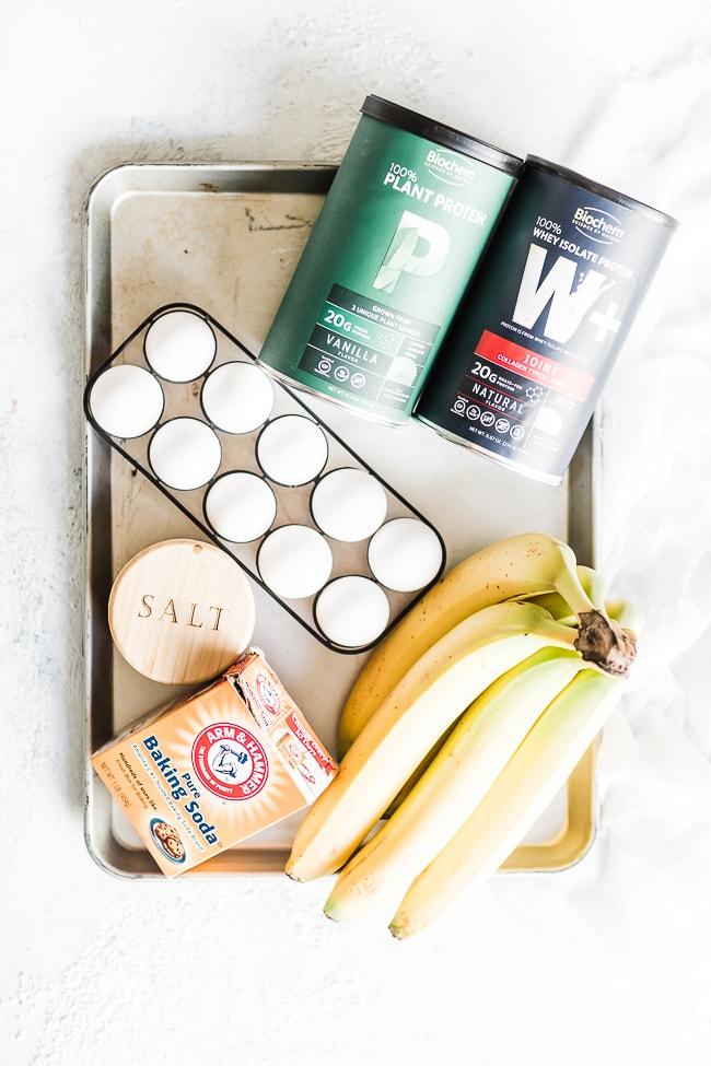 Healthy Protein pancake ingredients.