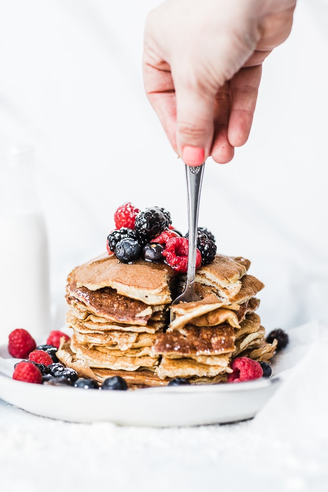 Protein pancakes being cut in too.