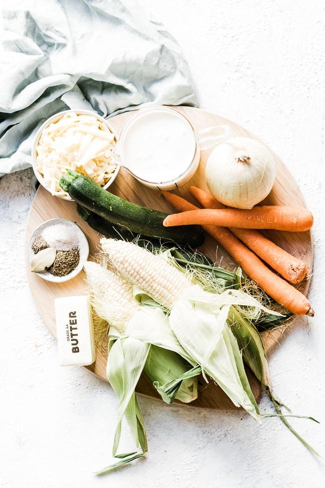 Corn chowder ingredients.