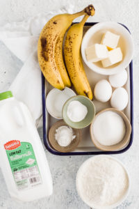 ingredients for buttermilk banana bread in bowls