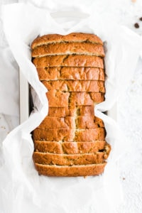 sliced banana bread in bread pan