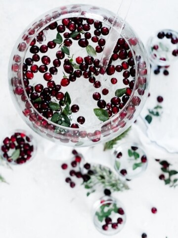 Cranberry mint water in a punch bowl.