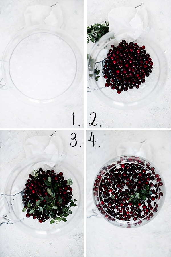 How to make cranberry mint water.