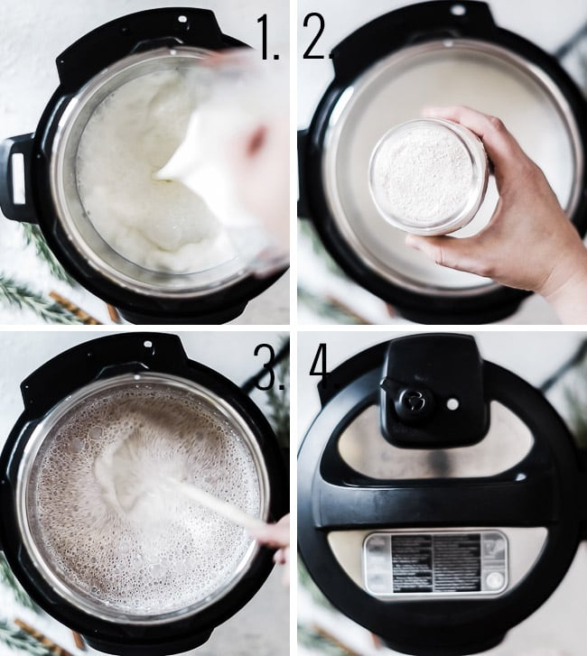 How to make warm milk in the pressure cooker.