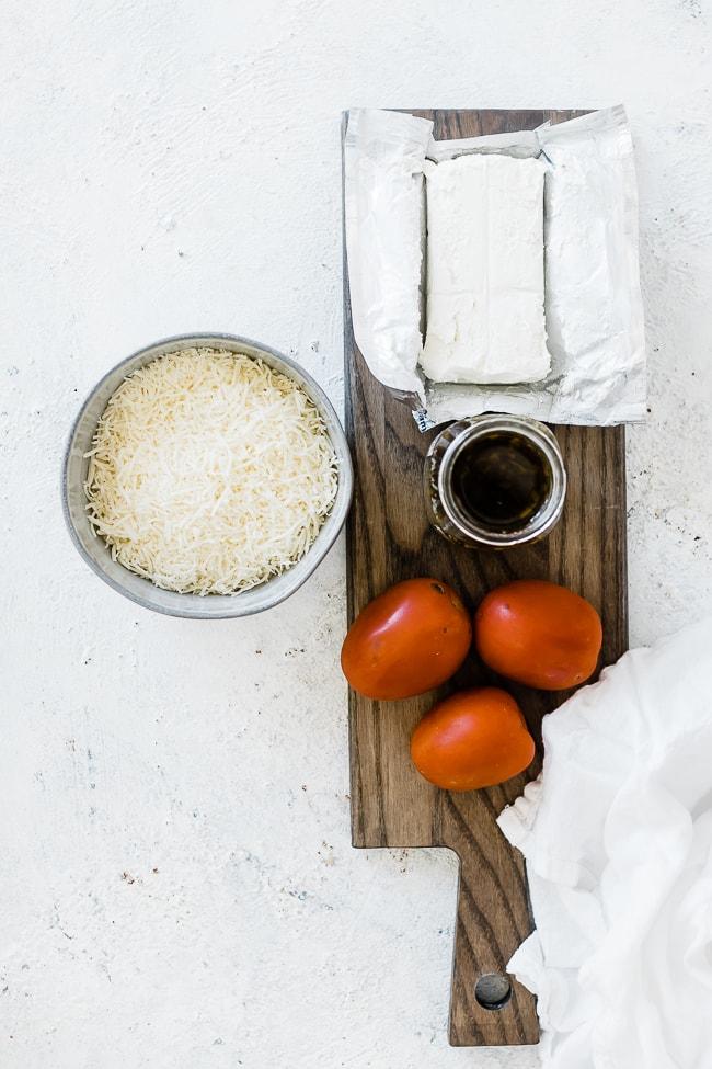 Ingredients for pesto dip.