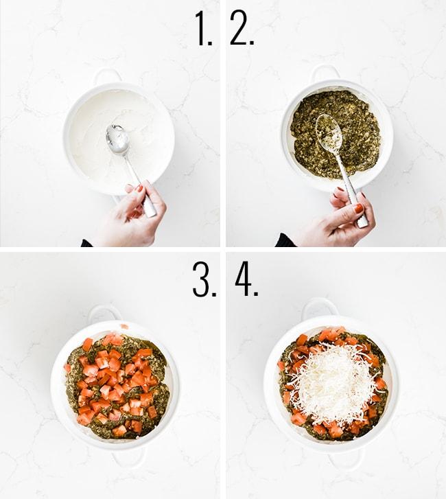 How to make pesto dip.