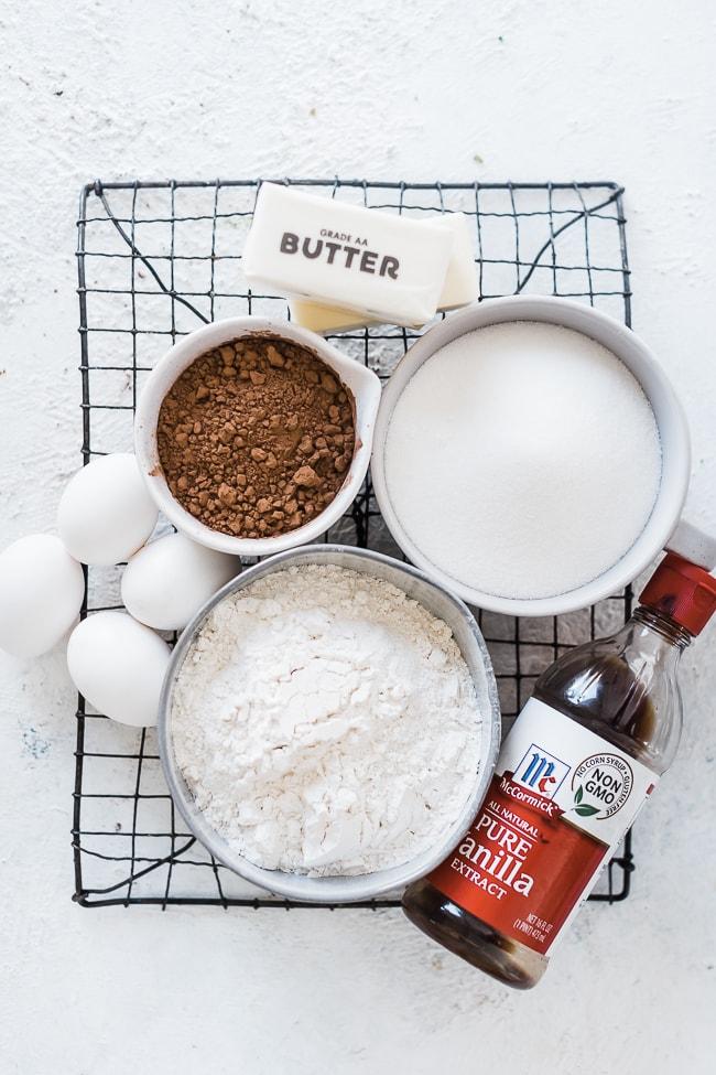 Chocolate waffle cookie ingredients.