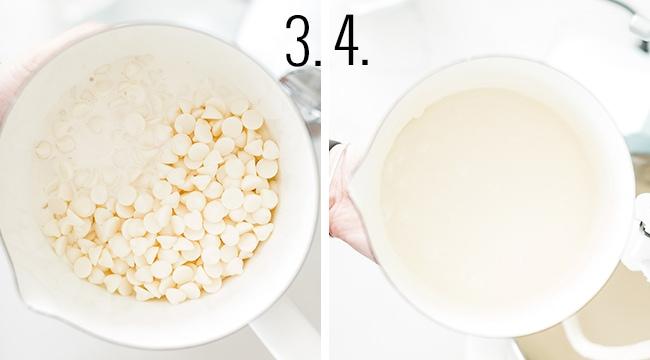 How to make white chocolate sauce.