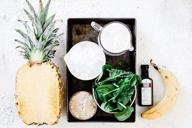 Ingredients for pina colada smoothie.