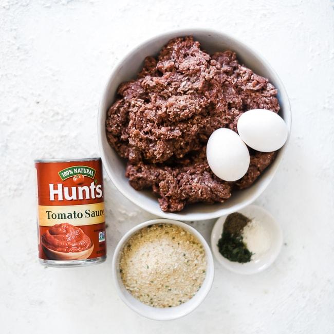 Ingredients for meatloaf.
