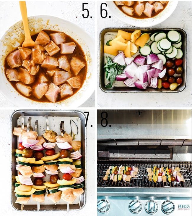 How to make chicken skewers - marinate your chicken, dice veggies, thread onto skewers, and grill.