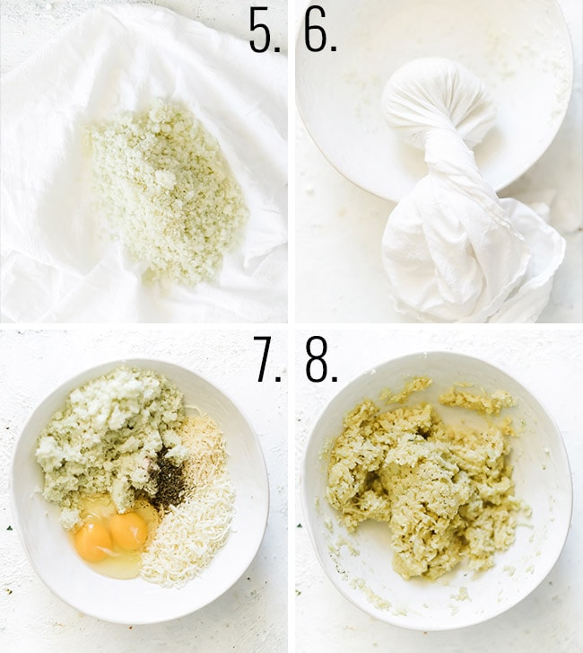 How to make cauliflower pizza crust: Pour cooked cauliflower rice into a clean tea towel. Ring out as much water as you can. Add cauliflower, cheese, egg, and seasoning to a mixing bowl. Mix until well combined with a wooden spoon.