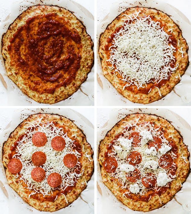 How to top a pizza - 4 squares with marinara, mozzarella, pepperoni, and goat cheese.