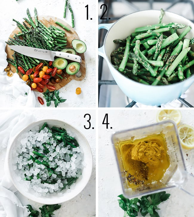 How to make asparagus salad: 1. dice your vegges. 2. Blanch your asparagus. 3. Ice bath your asparagus. Combine dressing ingredients in blender.