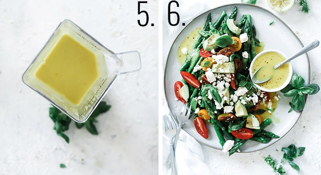 How to make asparagus salad: 5. Blend until smooth. 6. Toss with veggies.