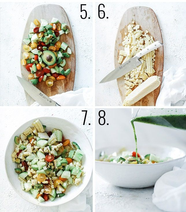 How to make corn salad - dice veggies, remove corn from cob, toss ingredient, add dressing.