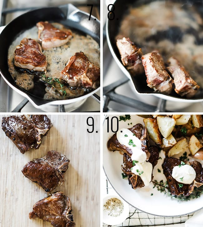 How to make easy lamb chops, steps 7-8: fried chops, frying edges, letting rest, topping with cream sauce.
