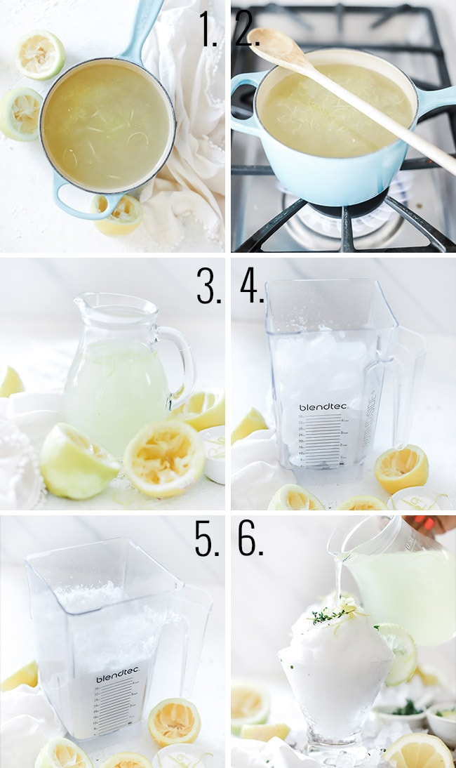 How to make lemon slushie - prepare lemon syrup, let liquid cool, blend ice, and pour syrup on top.