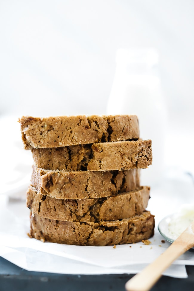 Easy zucchini bread sliced and stacked high.