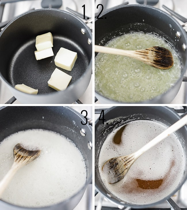 Images showing the process of browning butter.