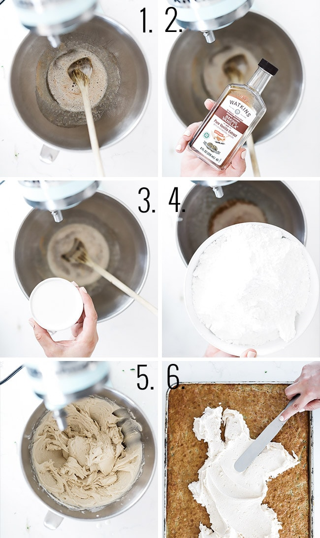How to make brown butter frosting - mixing butter, sugar, and vanilla in a stand mixer.