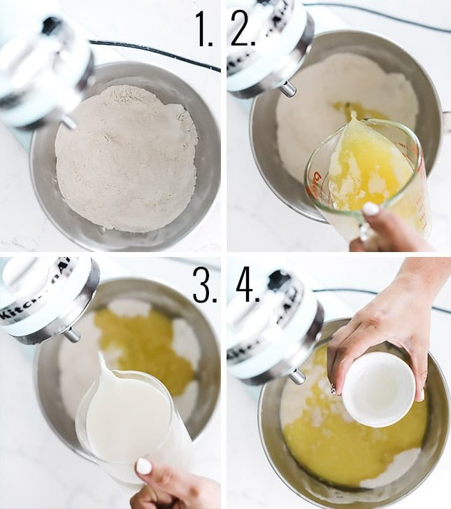 How to make a cobbler - combine flour and sugar, add butter milk and lemon extract.